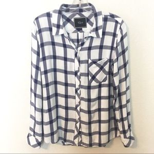 Rails plaid blue white shirt button front